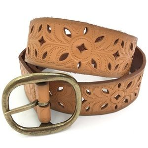 FOSSIL Tan LEATHER Die Cut Floral Geo Pattern BELT